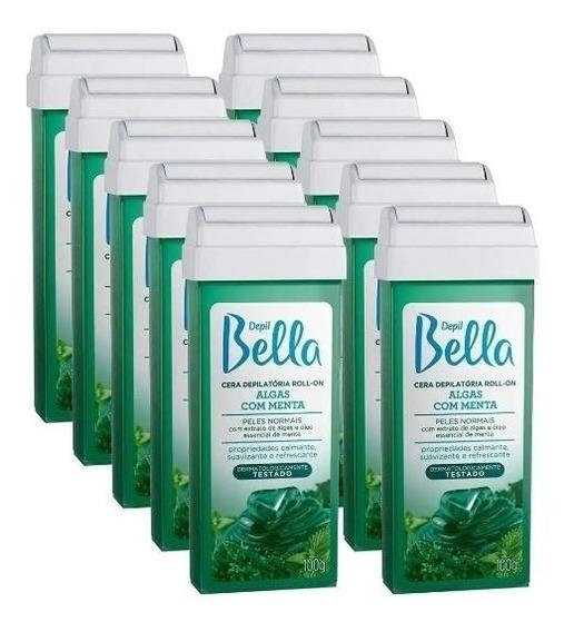Kit 10 Cera Rolon Depilação Depil Bella Algas Com Menta