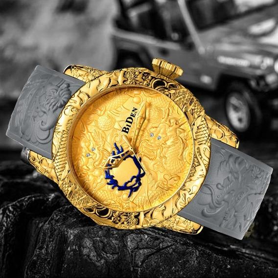 Relógio Masculino Esportivo Dragão Dourado Biden 50%off