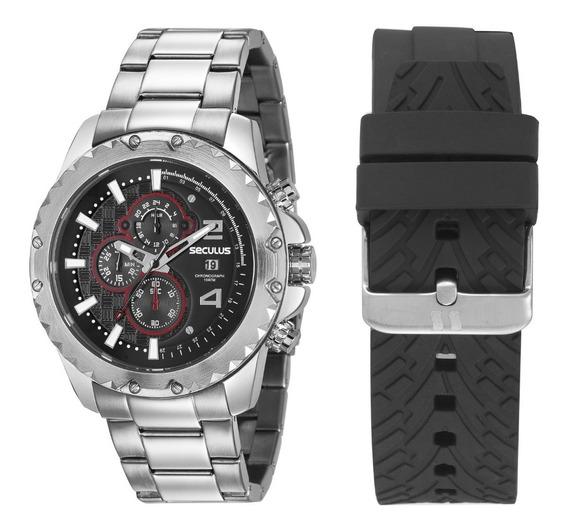 Relógio Masculino Seculus Troca Pulseiras 20604g0svns1 Black
