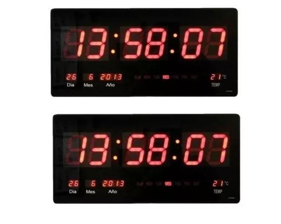 X2 Reloj Digital Pared Led Fecha Temperatura / Env. Gratis!