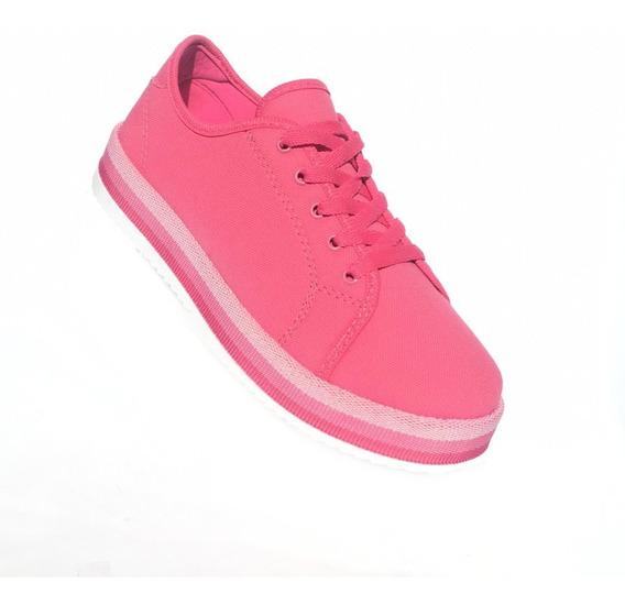 Tênis Feminino Rosa Pink Plataforma Com N F / Garantia - At