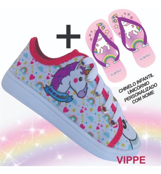 Unicórnio Kit Infantil Feminino Menina Tênis + Chinelo L14 !