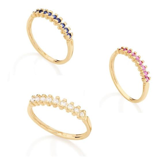 Anel Banhado Ouro Aparador De Aliança Com Pedras Azul/ Branco/ Rosa Com Nf