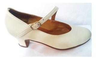 Zapato Español Folklore Profecional Para Danza Beige Camel