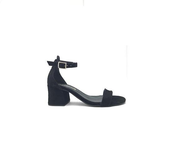 Zapato Mujer Sandalia Con Pulsera Gamuza Negra Lynch #463