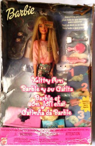 Imagen 1 de 8 de Muñeca Barbie Y Su Gatita Kitty Fun En Su Caja Original 2000
