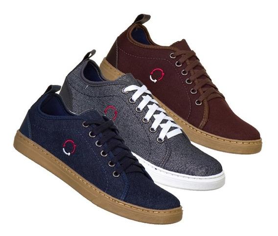 Kit 3 Pares Sapato Masculino Casual Sapatênis Costurado
