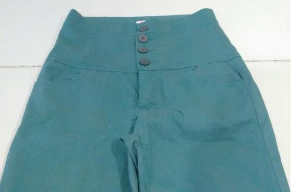 Pantalon Gabardina Talle S Tiro Alto, Recto, Verde Oscuro