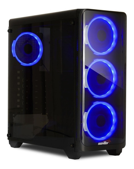 Gabinete Pc Gamer Sentey J20 4 X Fan Blue Vidrio Templado