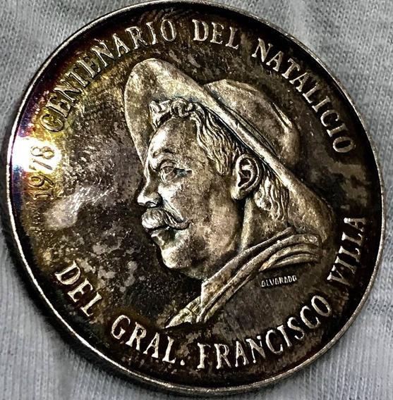 Medallla 1 Onz Plata Francisco Villa Excelente 1978 Durango