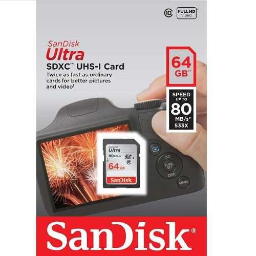 Cartão Sd Sdxc Ultra Sandisk 64gb 80mb/s Uhs-i Lacrado