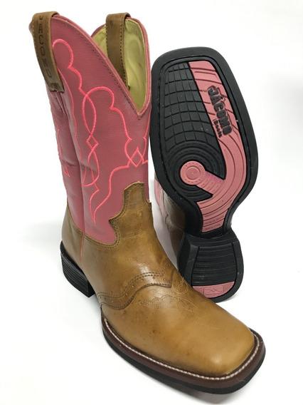 Bota Texana Jácomo Feminina Bico Quadrado Cano Rosa