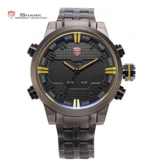 Relógio Shark Original Modelo Sawback Dual Time Aço Preto.
