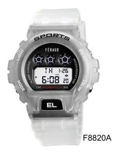 Reloj Hombre Feraud Deporte Digital 50m Alarma F8820a