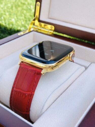 Reloj Apple Watch Serie 6 Chapado En Oro 24k 44mm Acero I...