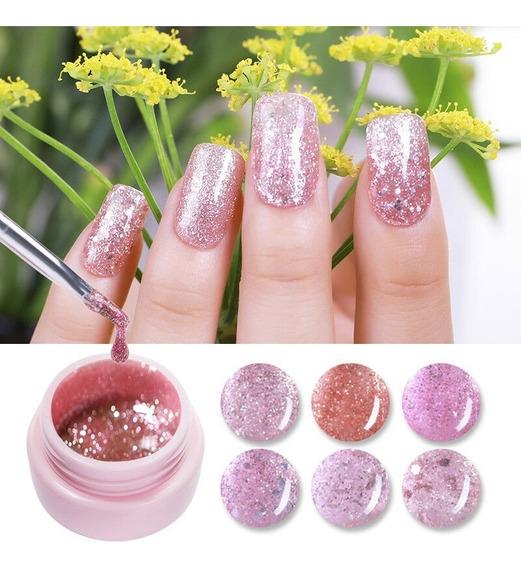 Sugar Ur Gel Uv/led Rose Gold Glitter Luminoso Rosa Luminous