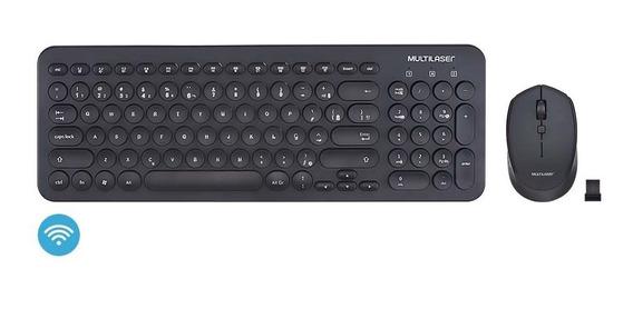 Combo Teclado E Mouse Sem Fio Teclas Redondas Preto - Tc231