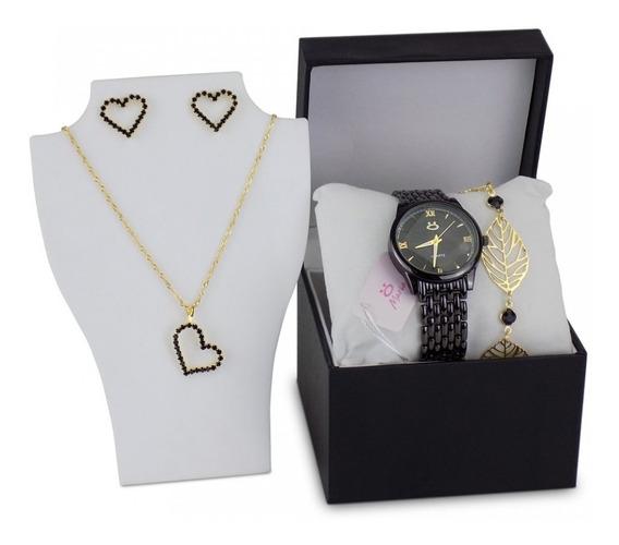 Relógio Feminino Preto Casual Elegante + Kit Colar Brincos