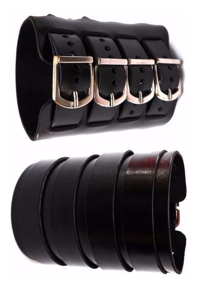 25 Bracelete / Pulseira 3 Fivelas Em Couro, Rock Punck, Funk
