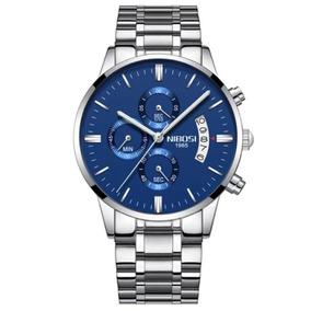 Relógio Nibosi Original Masculino Func Inox Prata Fundo Azul