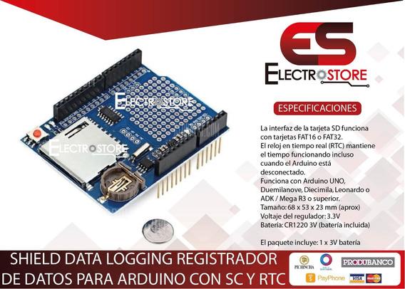Shield Data Logging Logger Arduino Rtc Y Sd