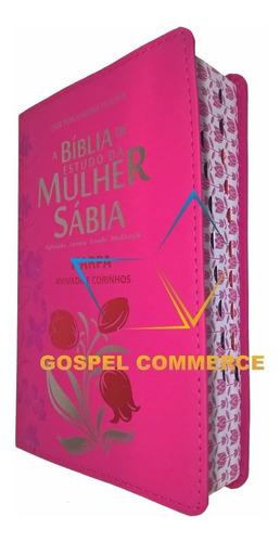 Imagem 1 de 4 de Bíblia De Estudo Da Mulher Sábia Com Índice E Harpa Pink