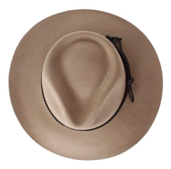 Sombrero Fedora Indiana Lana De Oveja Bekal Arena Moño