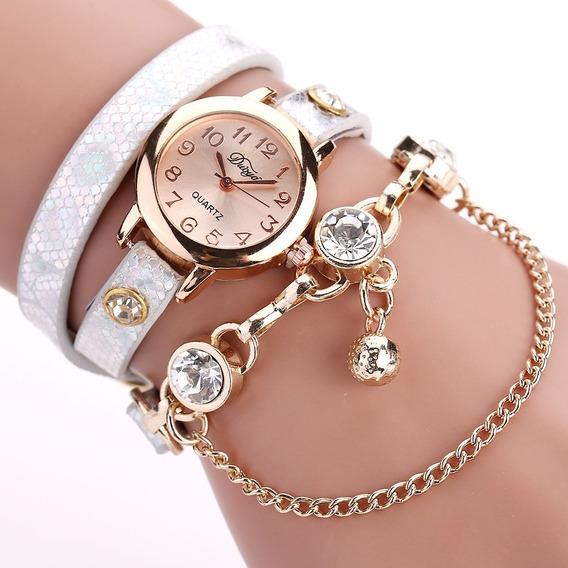 Relógio Bracelete Feminino Duoya Com Pingente