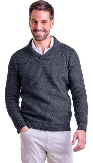 Sweater Hombre Lana Moderno Cuello Cruzado Gris Kierouno