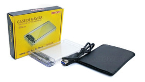 10 Case Externo Usb 3.0 P/ Hd Sata 2.5 Notebook Transparente