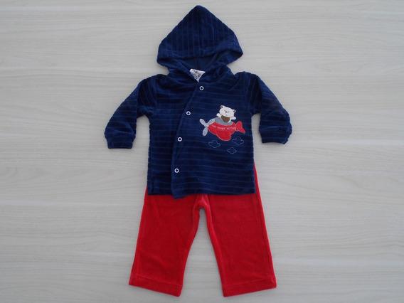 Conjunto Inverno Bebê Plush Ursinho Aviador Cód: 652