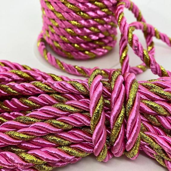 Cordão São Francisco Rolo Com 10 Metros 6mm Rosa C/ Dourado