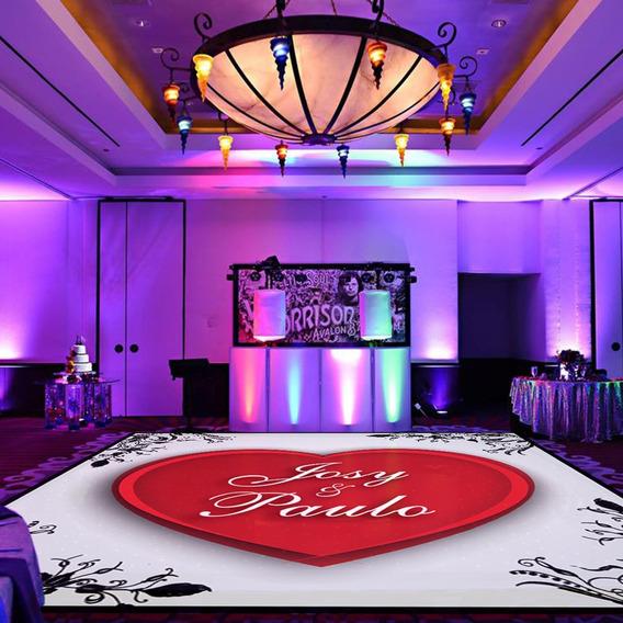 Pista De Dança Para Casamento Coração Floral Ps30 - 5x5m