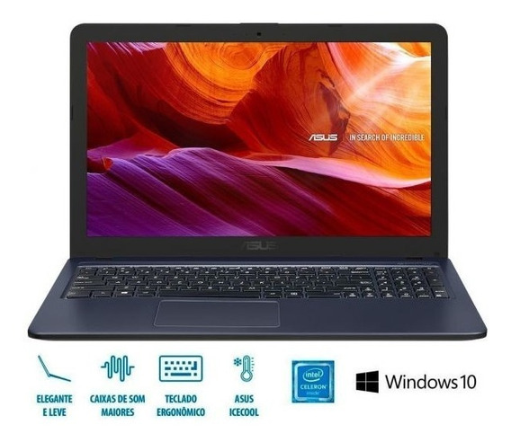 Notebook Asus X543 Celeron/4gb/500gb/win10 Tela 15,6