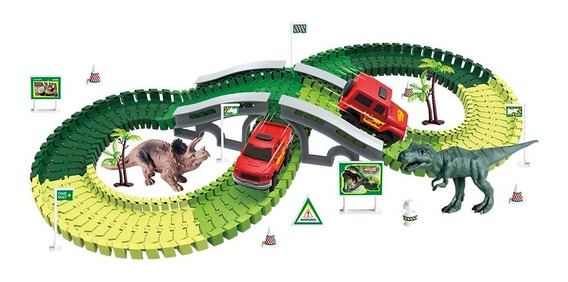 Pista Dinossauro Rex Maluca Magica Track Com 141 Pç 1 Carro