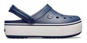 Sandalia Crocs Dama Crocband Platform Clog Marino/blanco