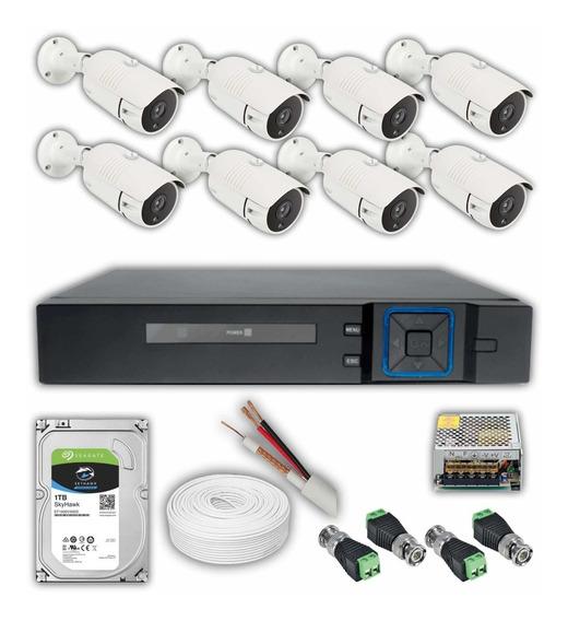 Kit Monitoramento 08 Câmeras Segurança 12x Residencial