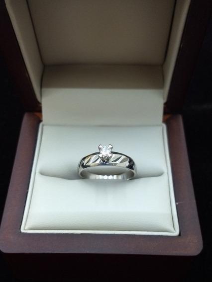 Anillo De Oro Blanco 10k Con Diamante Solitario/compromiso