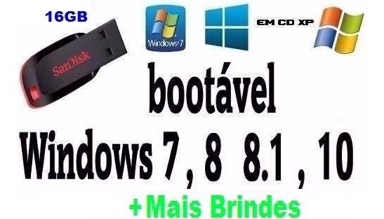Pendrive Bootavel 16gb Win Todos Sandisk Original!