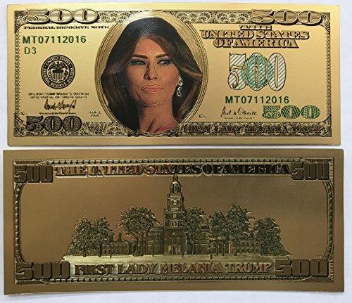 $ 500 Primera Dama Melania Trump 24kt Chapado En Oro Conmemo