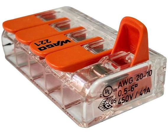 Kit 10 Conector 41a Emenda 5 Fios 6mm Wago 221-615