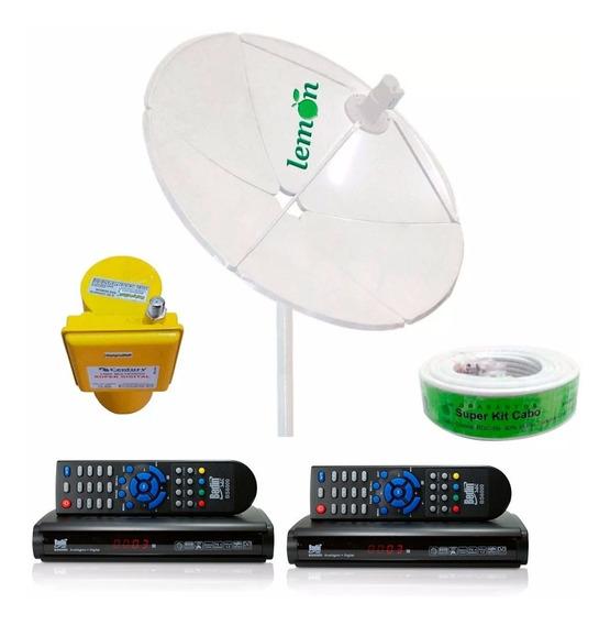 Antena Parabolica Completa 2 Receptor 60 Canais Anadigi Sd