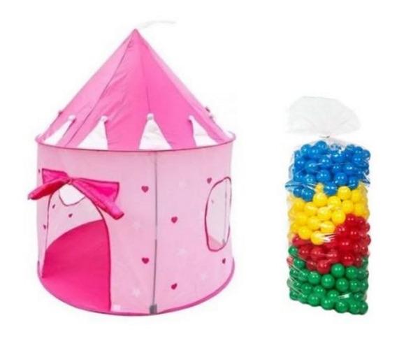Barraca Infantil Tenda Castelo Das Princesas + 50 Bolinhas