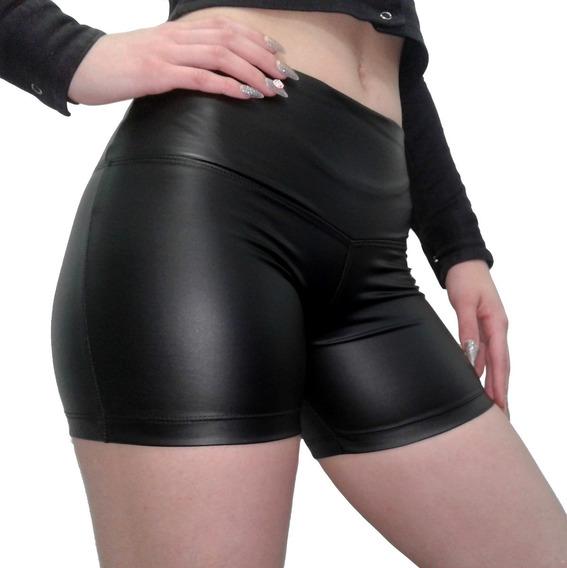 Short Engomado Al Cuerpo Color Negro Intenso Cintura Ancha