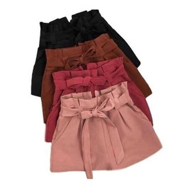Shorts Curto Bengaline Cintura Alta Laço Feminino Babado
