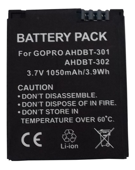 Bateria Para Go Pro Hero 3 Modelo Ahdbt-301