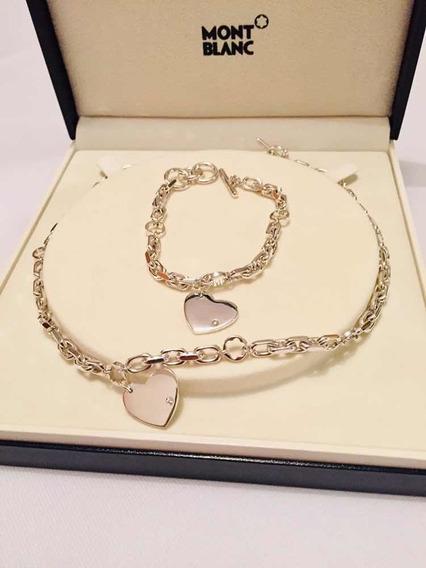 Collar Y Pulsera Montblanc En Plata Ley 925 Con Diamantes!!
