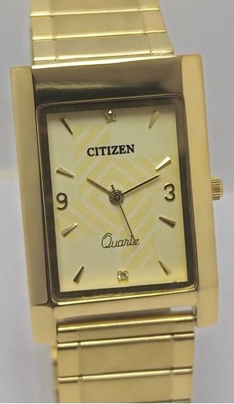 Relógio Citizen Quartz Masc Mostrador Dourado Raro Vintage