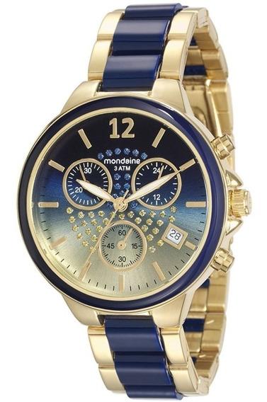Relógio Feminino Mondaine Litoral De Riviera Azul Cronógrafo