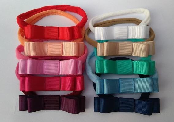 Kit 4 Faixas Slim De Cabelo Para Bebê Laço Chanel